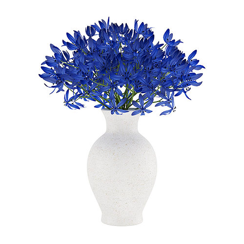 Blue Flowers In White Vase Model Max Obj Mtl Fbx C4d 4