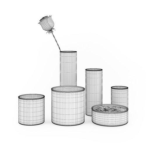 rose and vases set 3d model max obj fbx c4d 1