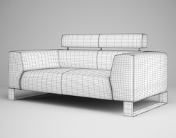 3D model Red Leather Sofa 01