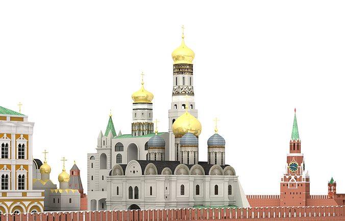 kremlin moscow 3d model obj mtl 3ds c4d dae skp tga 1