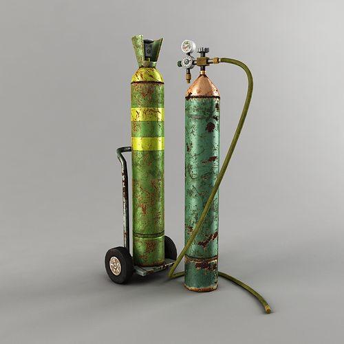 oxygen tank low poly 3d model low-poly max obj mtl fbx tga 1