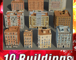 low-poly building collection 61 - 70 3d asset