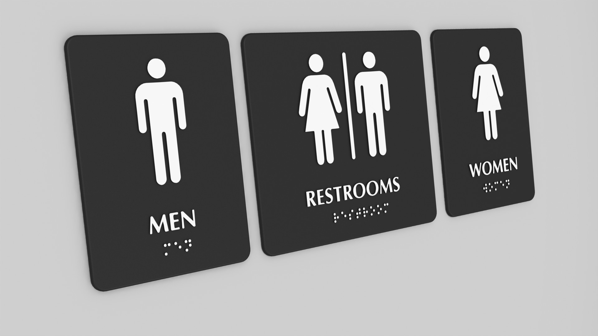 Bathroom Signs Braille 3d printable model braille toilet restroom signs