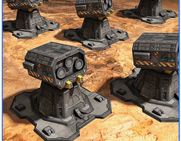 3d scifi base defense tower free pack 03