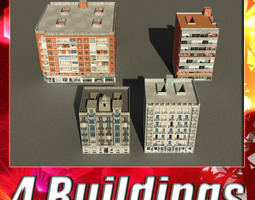 low-poly 3d model building collection 81-84