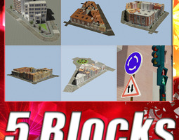 5 city blocks collection 3d model realtime