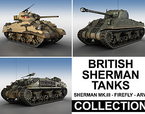 3D model army British Shermans - Collection