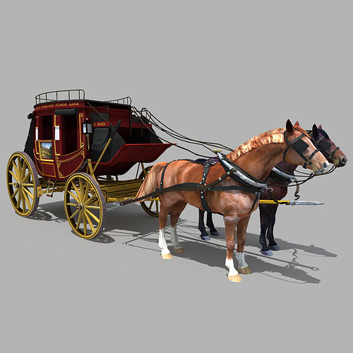 Horse And Carriage 01 3d Model Max Obj Fbx 3