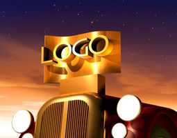 Logo scene with old car nose 3D