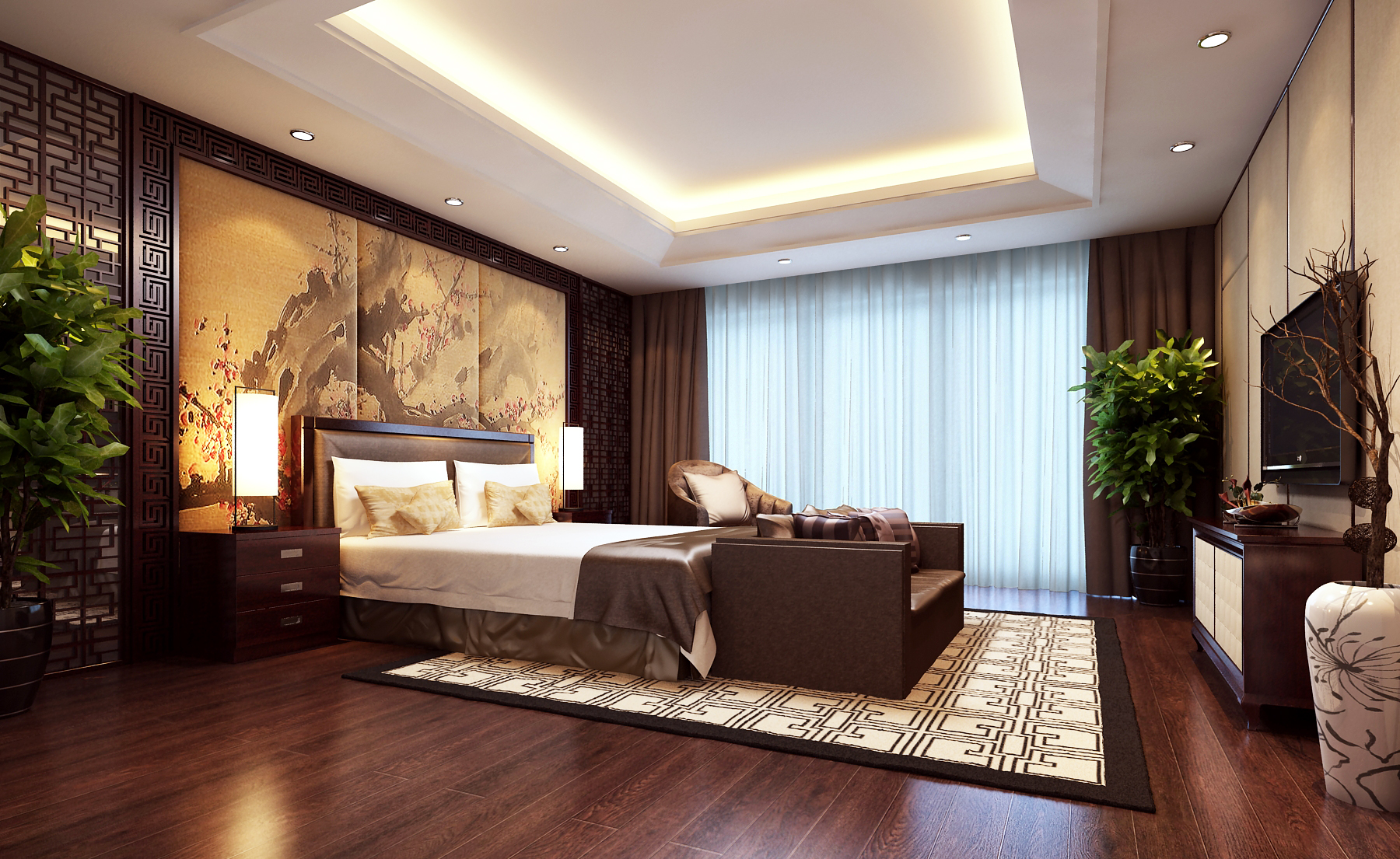 Modern brown bedroom 3d model max for Bedroom designs 3d model