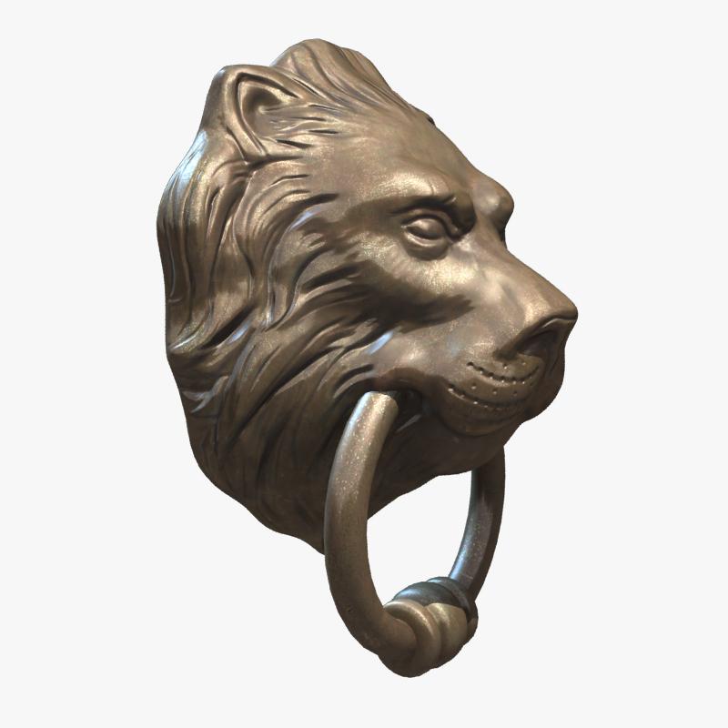 ... lion head door knocker 3d model low-poly max obj fbx ma mb ztl tga ... & Lion Head Door Knocker 3D model | CGTrader