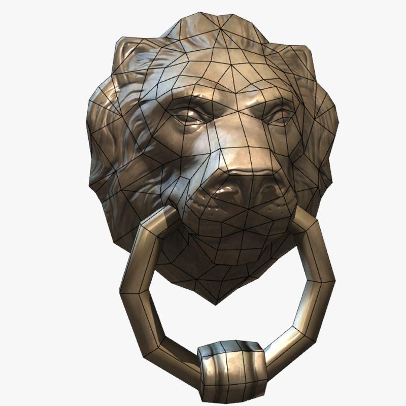 ... Lion Head Door Knocker 3d Model Low Poly Max Obj Fbx Ma Mb Ztl Tga ...