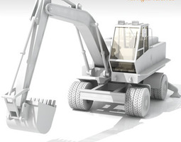3D Excavator Bres500 with wheels