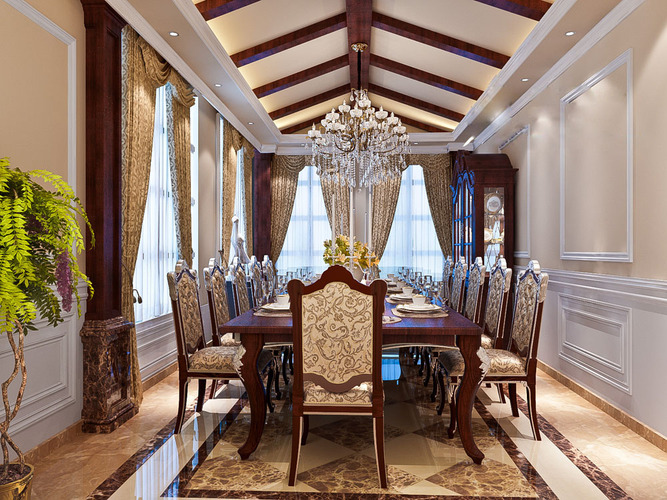 3d luxurious dining room cgtrader for Dining room 3d max model