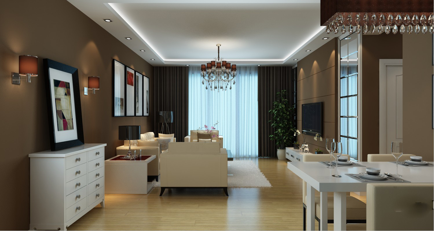Modern living room with dining room 3d model max for Modern living dining room
