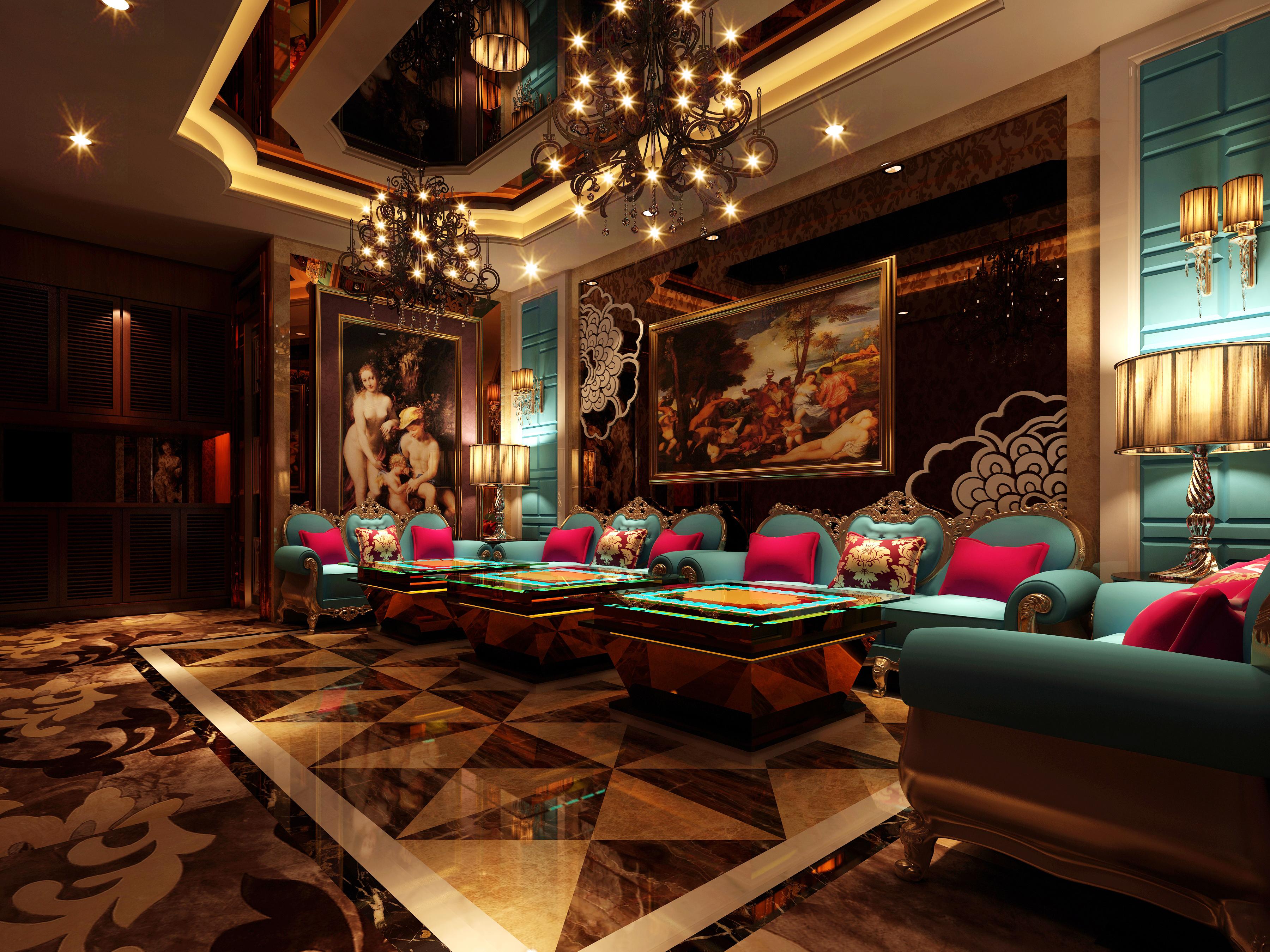 Luxurious Restaurant Vip Lounge 3d Model Max 1