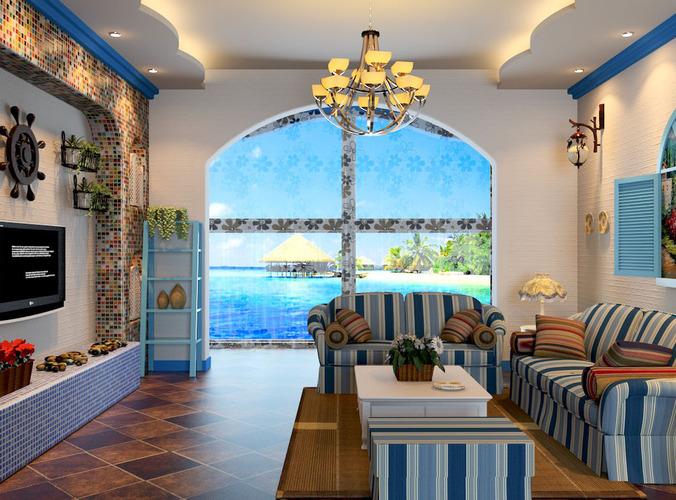 Modern Living Room Fully Furnished 3D Model