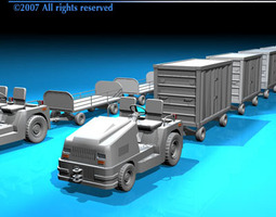 airport baggage trailer 3d model obj 3ds c4d dxf