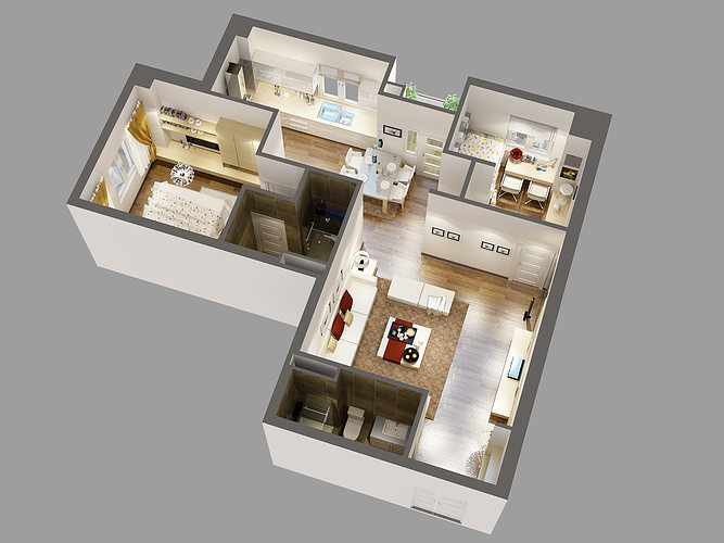 Detailed house cutaway 3d model cgtrader - Best 3d home design software free download ...