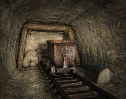 low poly mine realtime 3d asset