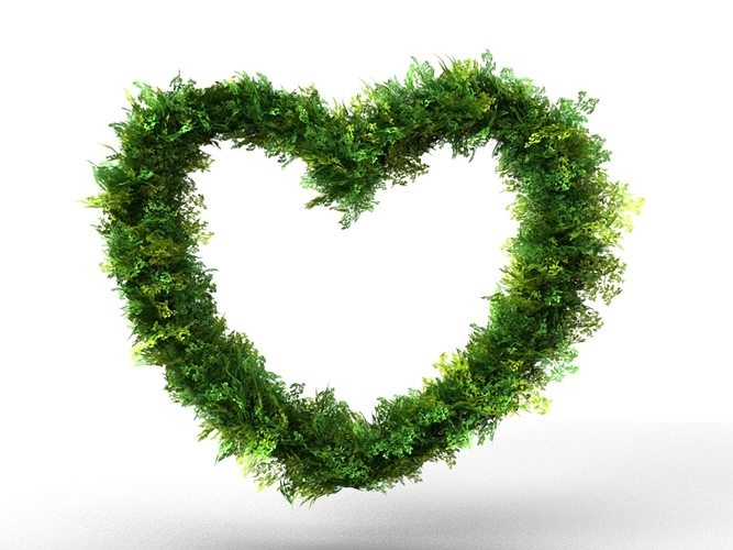 bush heart decoration 3d model max obj 3ds 1