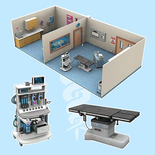 the operating theatre for poser 3d model obj mtl pz3 pp2 1