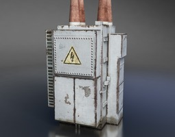 low-poly power transformer 3d model