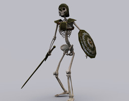 low-poly 3d asset skeleton knight game ready animated model