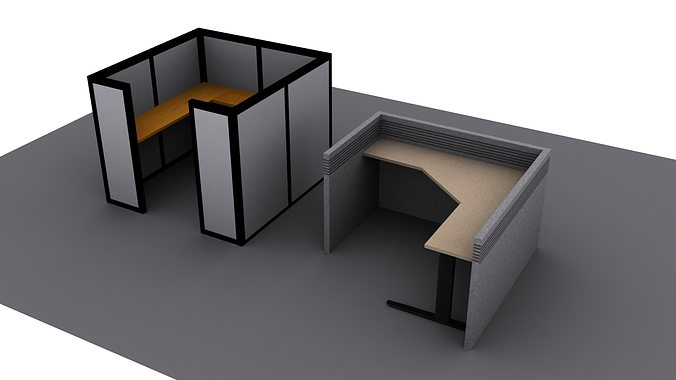 Cubicles Office Low Poly 3D asset CGTrader