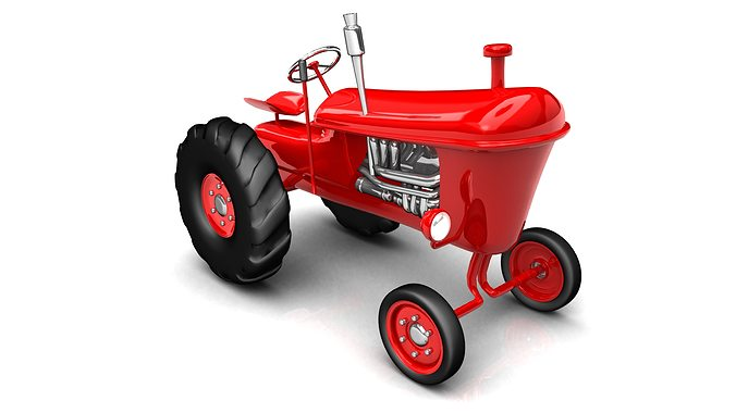 Vintage Tractor Cartoon : Vintage red tractor for farming d cgtrader