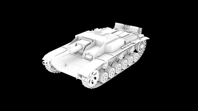 tank stug3 3d model stl 1