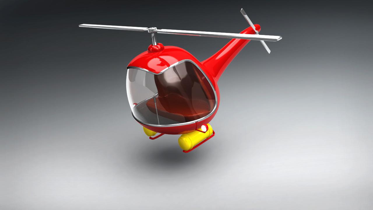 Vintage Red Helicopter 3D Model