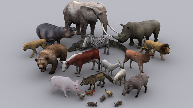 animals full pack game ready animated models 3d model low-poly rigged animated max 1
