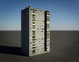 tower block house 3d model max obj 3ds fbx dxf dwg