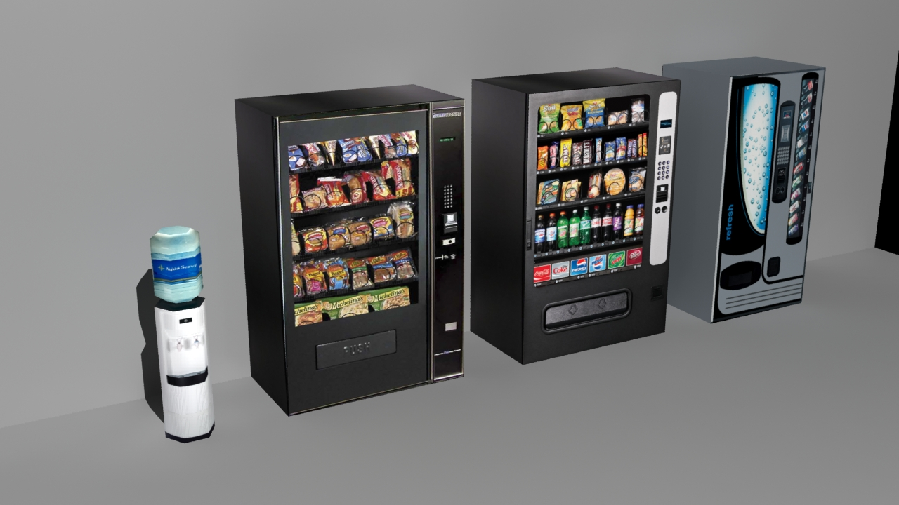 Office Drink Machines Low Poly