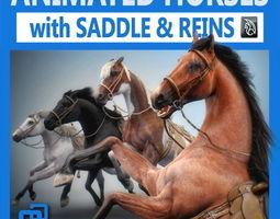 Animated Horses v2 3D Model