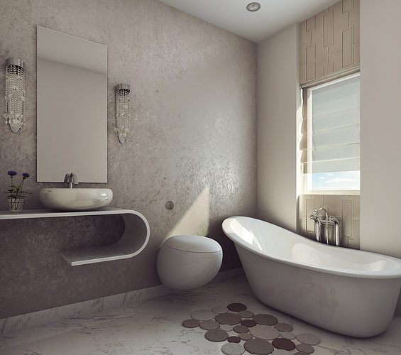 3d modern earthy design bath room cgtrader for Bathroom designs 3d