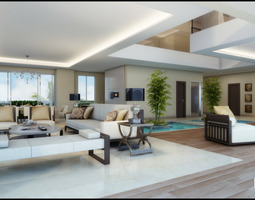 3d model modern white living room with waterpool