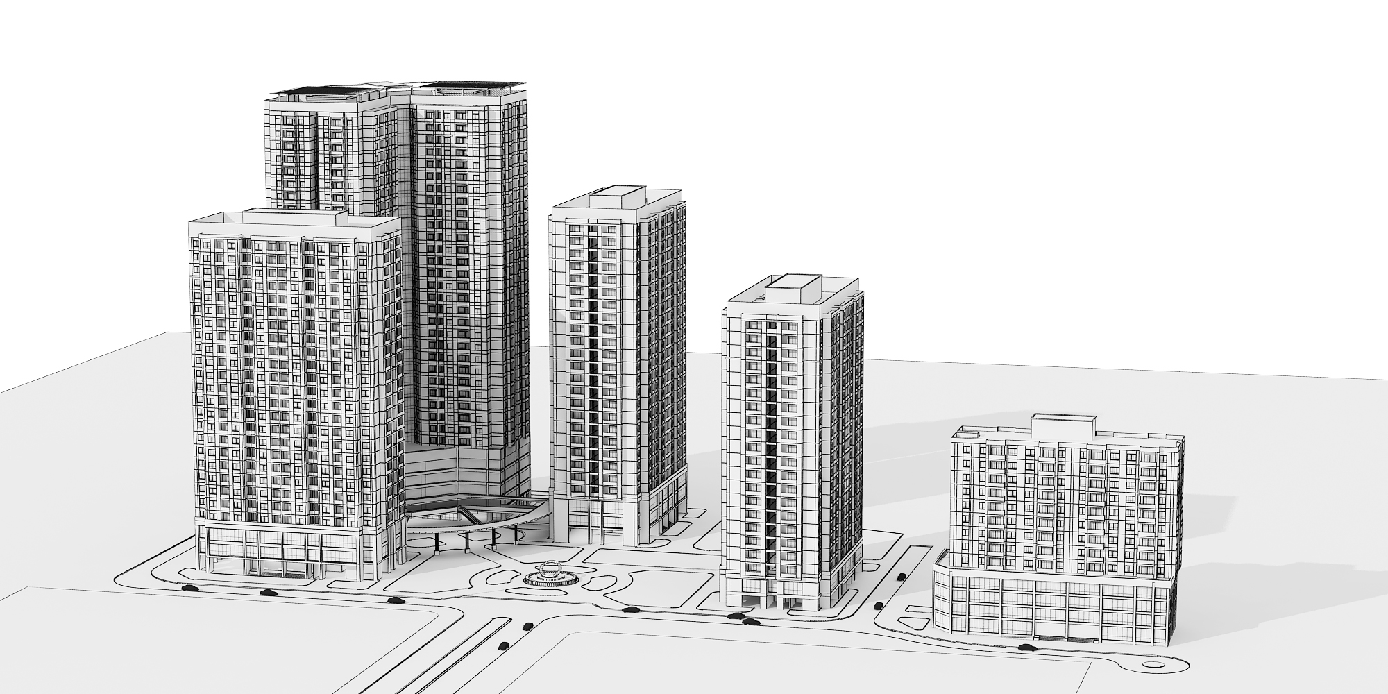 Detailed high rise building complex 3D Model 3D Model MAX | CGTrader.com