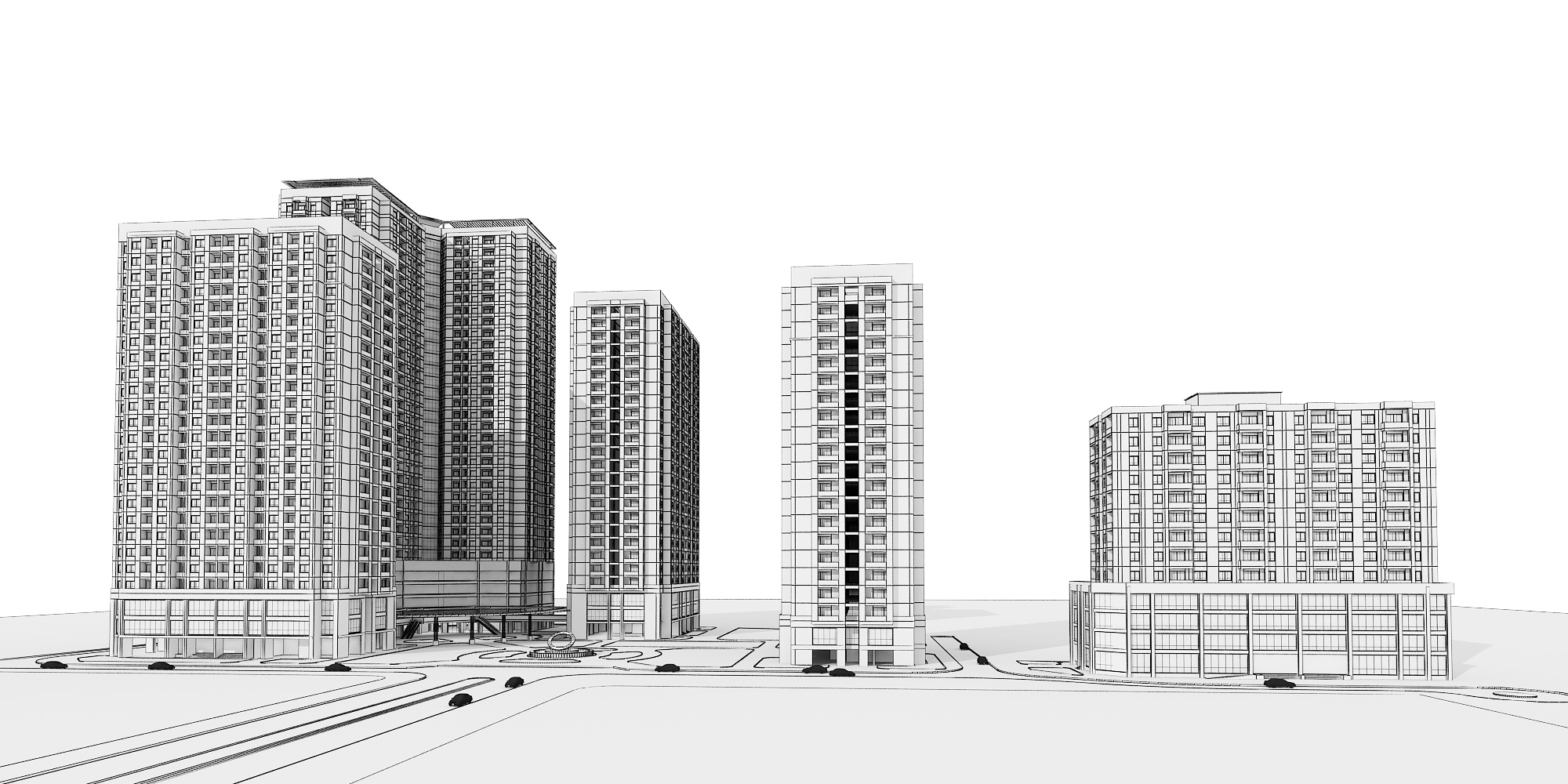 Detailed high rise building complex 3d model 3d model max for 3d max building