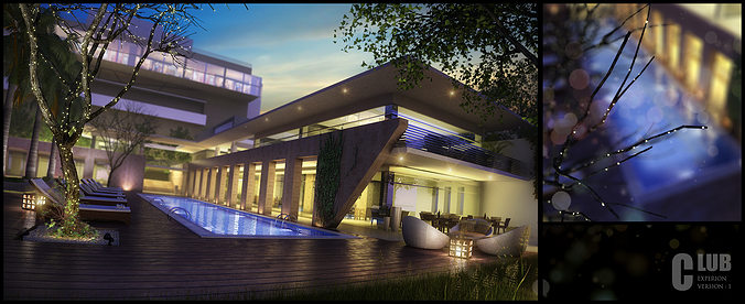 Modern Hotel With Swimming Pool 3d Model Cgtrader