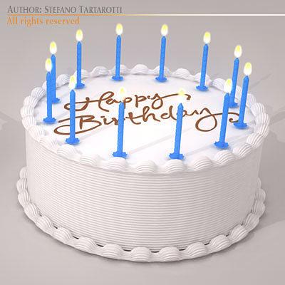 Birthday cake 3d model obj 3ds c4d dxf for 3d printer cake decoration