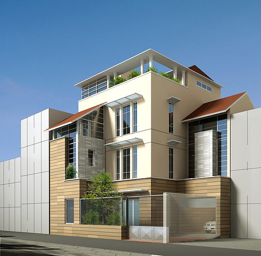 3D Contemporary Multi Story House
