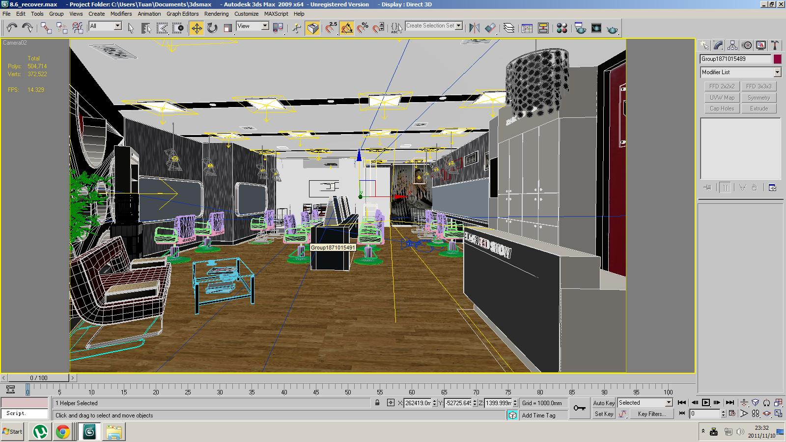 Barber shop or beauty salon interior 3d model max for Room modeling software