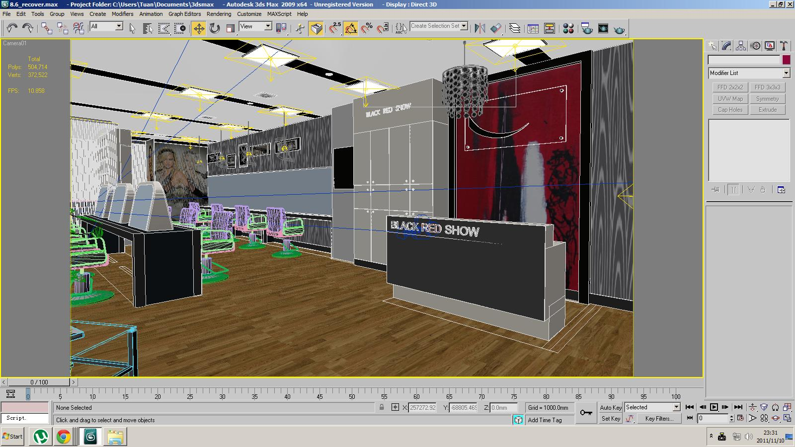 Barber shop or beauty salon interior 3d model max Program design interior 3d free