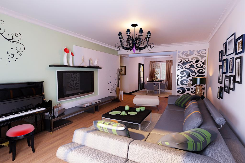 Living dining room cutaway 3d model max for Dining room 3d max model