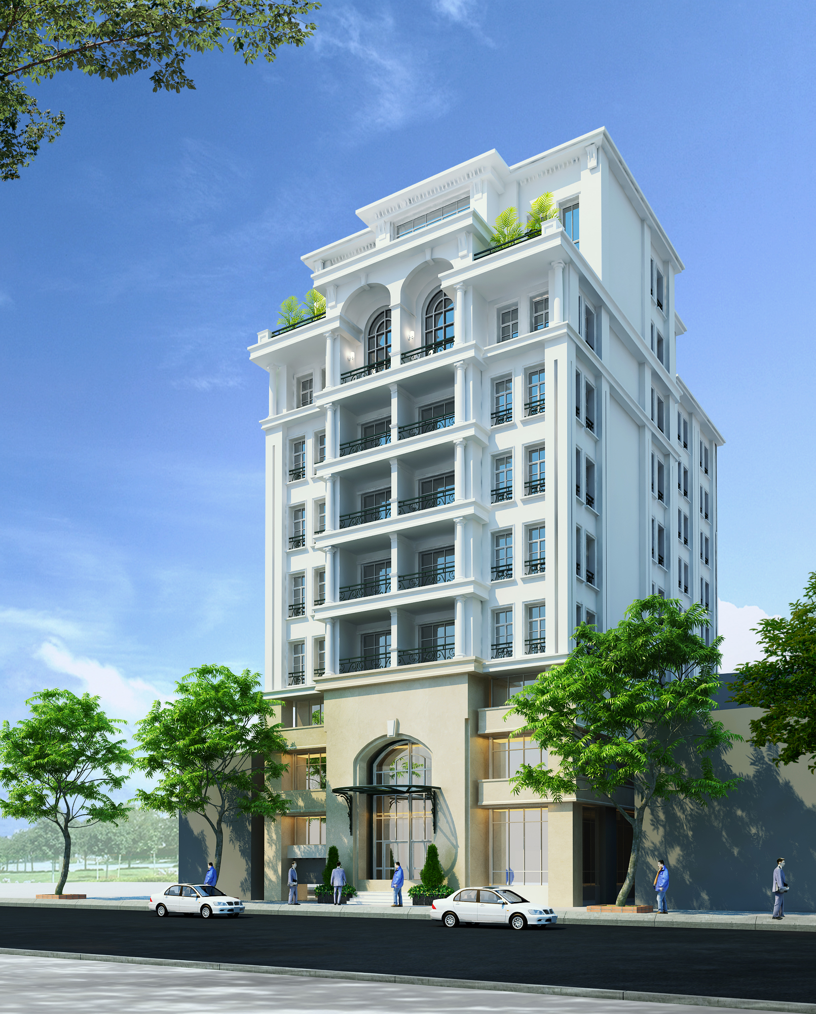 Apartement: Detailed Neoclassical Apartment Building 3D Model MAX