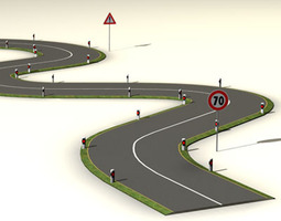 road with curves 3d model