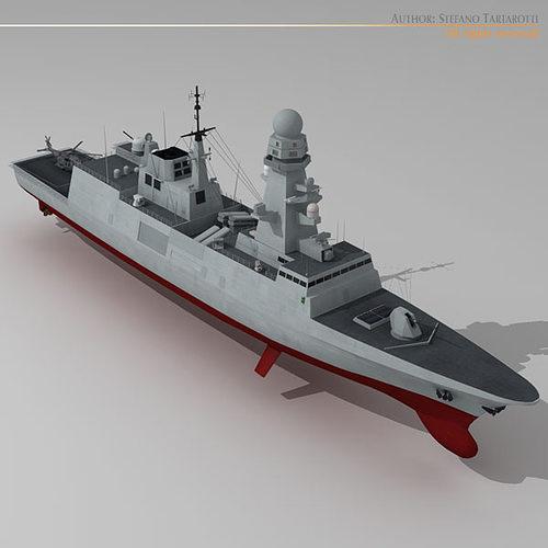 fremm multipurpose frigate 3d model obj mtl 3ds fbx c4d dxf dae 1