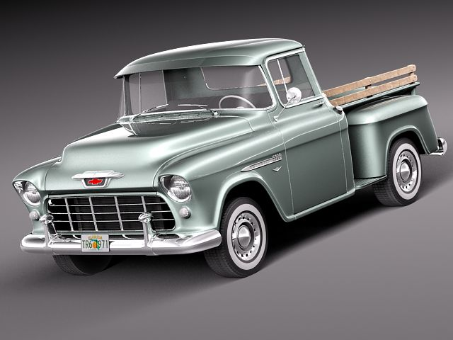 chevrolet pickup 1955 3d model max obj 3ds fbx c4d lwo lw lws. Black Bedroom Furniture Sets. Home Design Ideas